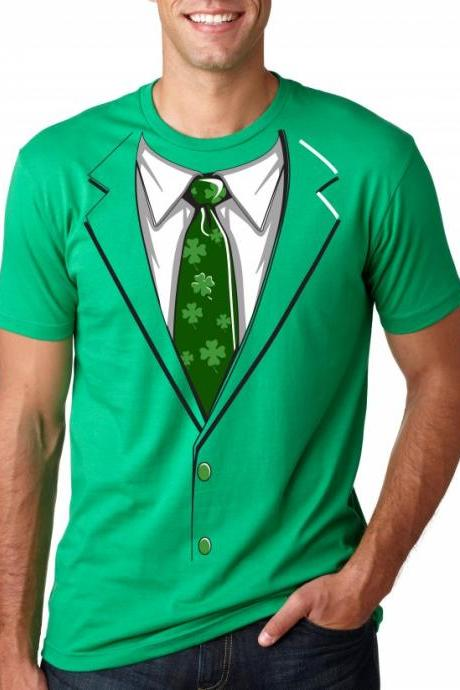 Green Irish Tuxedo shirt cool saint patricks day t shirt S-3XL