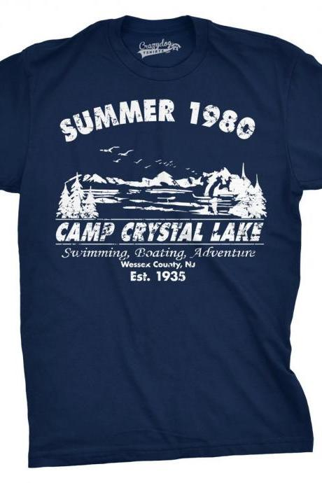 Funny Mens Shirt, Cool Shirts, Nerdy Shirt, Summer 1980 Camp Crystal, Mens Camping T Shirt, Happy Camper T shirt, Funny Camping Shirt