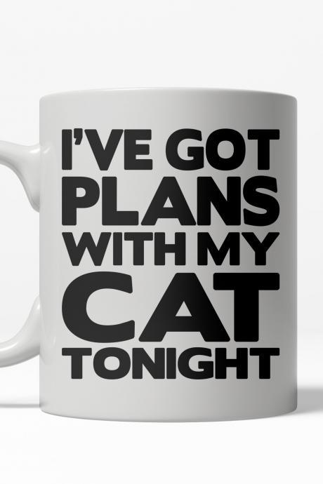 Cat Dad Mug, Funny Cat Mug, Cat Coffee Mug, Coffee Mugs With Sayings, Coffee Mugs Quotes, Funny Work Mug, Ive got Plans with My Cat