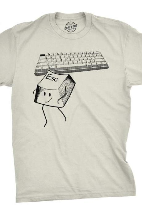 Developers Shirt, Escape Key T Shirt, Keyboard Shirt Men, Nerdy Geeky Shirt, IT Worker Shirt, Computer Nerd Tee, Keyboard Graphic Top