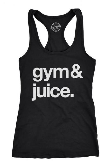 Racerback Tank Top, Funny Gym Tank, Fun Yoga Tank Tops, Gym Shirts With Sayings, Funny Womens Tank Top, Gym & Juice Tank Top