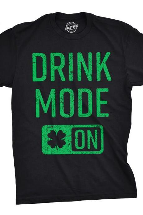 Drink Mode On T Shirt Men, Funny St Patrick Day Shirt, Party Shirts Men, Shamrock Shirt, Clover Shirts, Funny Drinking Shirts, Switch ON