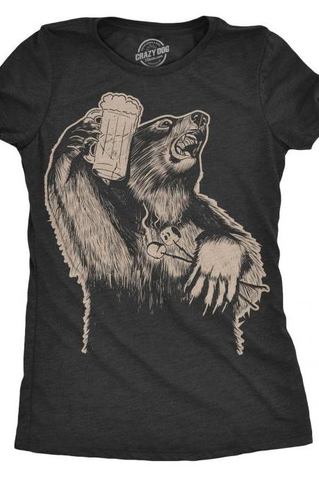 Camping Bear Shirt, Camping Vacation Shirt Women, Grizzly Beer Tee, Party Bear T Shirt, Gift For Mom, Cool Bear Shirt, Funny Shirt Mom