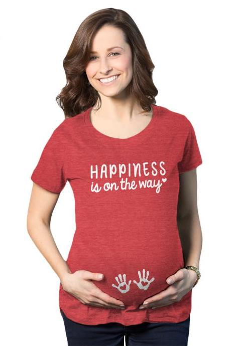 Happiness Is On the Way Maternity Shirt, Cute Maternity Shirts, New Mom T Shirt, Gift For New Moms, Mothers Day Gift, Mom Shirt Funny