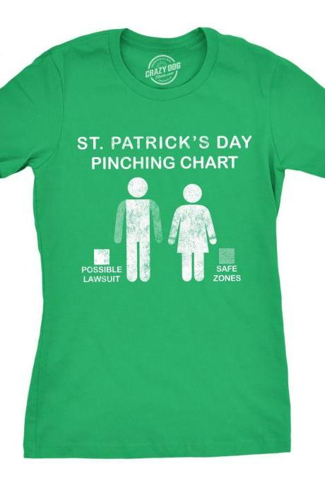 St Patricks Day Pinching Chart T Shirt, Clover T shirt Woman, St Patrick Shirt, Funny T Shirt, Clover Weekend Party, Funny Shamrock Shirt