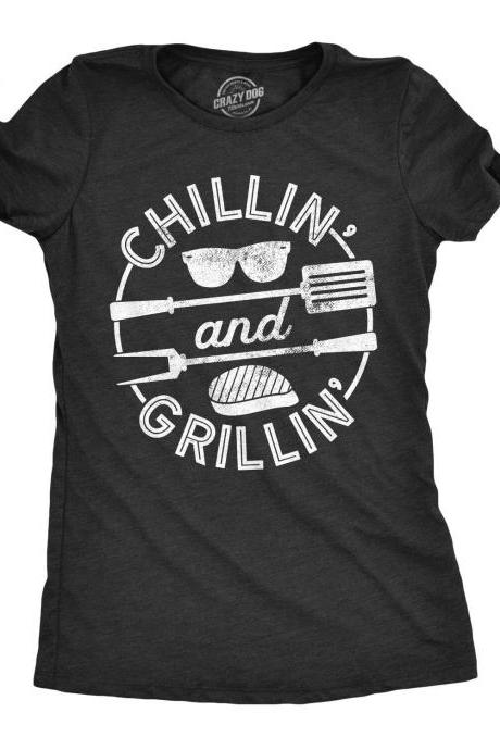 BBQ Shirt Mom, Womens Barbecue Cooking T Shirt, Slim Fit BBQ Tee, Funny Mom Shirt, Cool Summer Party Shirt, Chillin And Grillin Shirt