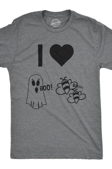 Funny Halloween Shirt, I Heart Boo Bees, Mens Funny Halloween Shirt, Funny Ghost shirts, Funny Halloween Costumes, Bee Costume, I heart,Puns