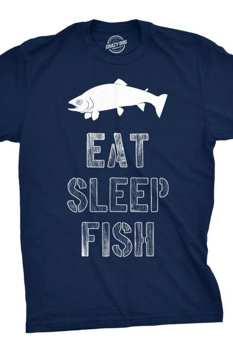 Mens Eat Sleep Fish T Shirt, Mens Fishing Tshirt, Funny Fishing Shirt, Fisherman Gifts, Present for fisherman, Camping Holiday Gifts