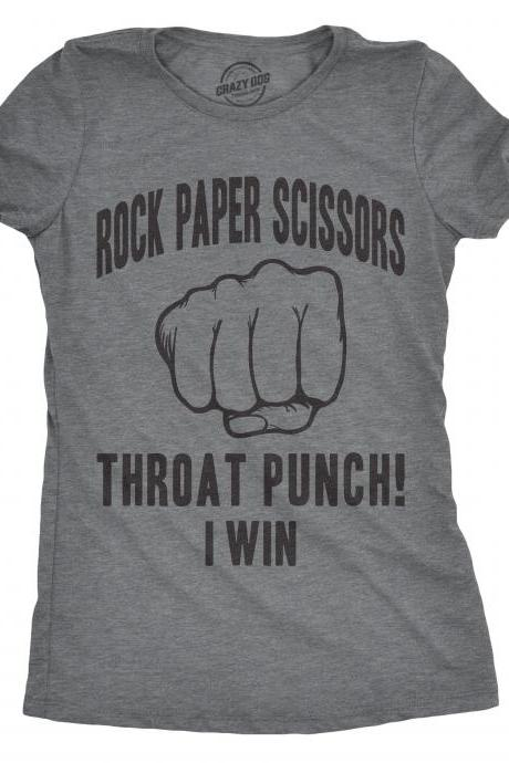 Sarcastic Shirts Women, Shirts With Funny Sayings, Funny Womens Shirt, Offensive Shirt for Women, Rock Paper Scissors Throat Punch