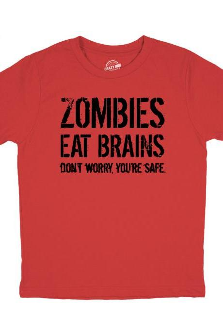 Kids Zombie Shirt, Zombie Apocalypse T Shirt, Funny Zombie Clothes, Halloween Zombie Shirt, Youth Zombies Eat Brains T Shirt