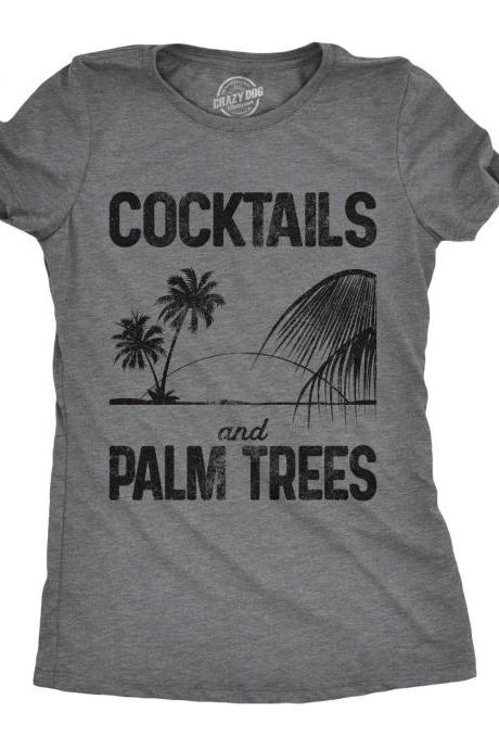 Cocktails And Palm Trees Fitted Shirt, Womens Beach T Shirt, Bachelorette Beach Party Shirts, Funny Drinking Womens, Beach Lover Shirts