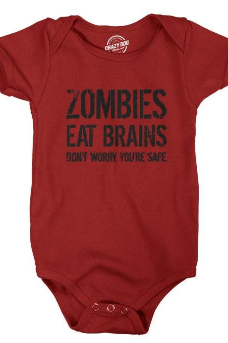 Zombies Eat Brains, Youre Safe Romper baby, Baby Halloween Costume, Baby Shower, Infant Girl Clothes, Infant Boy Romper, Infant Baby