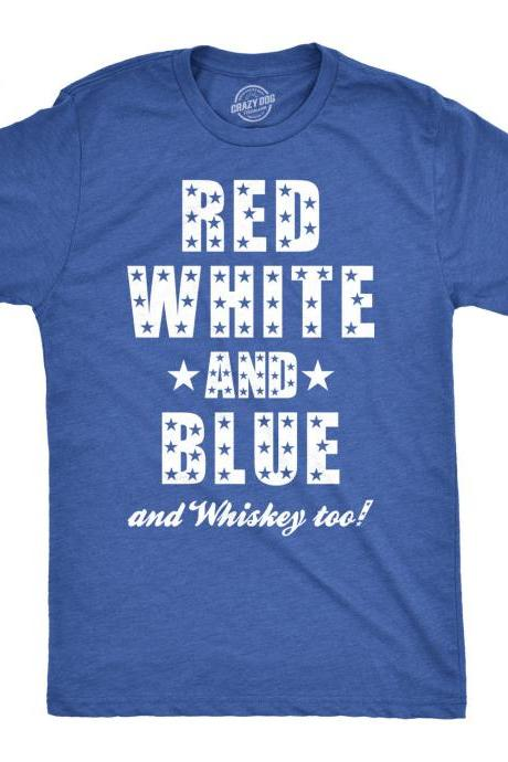 Independence Day Shirt, 4th of July Celebration Shirt, America Shirt, Murica Shirt, Beer Shirt, Red White and Blue and Whiskey Too