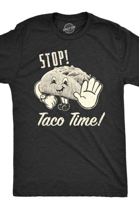 Stop Taco Time, Funny Taco Shirt, Mens Taco Shirt, 80s shirt, Mens Retro Shirt, Taco Tuesday, Funny Mens Taco Shirt,Taco Party, Taco Tuesday