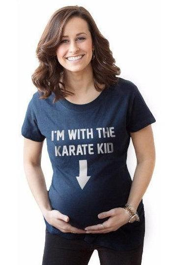 Pregnancy Tee, Baby Shower Gift, Present New Mommy, Expecting Mom Shirt, Im With The Karate Kid Maternity T Shirt, Funny Movie Tshirts