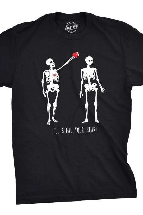 Mens I'll Steal Your Heart Tshirt, Mens Skeleton Rib Cage T Shirt, Valentines Day Skeleton, Skeleton Tshirt, Mens Valentines Day