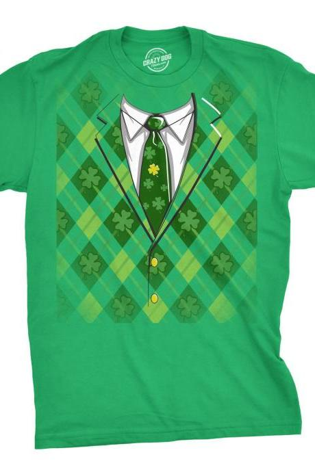 Plaid Green Tuxedo T-Shirt st. patricks day shirt, awesome Patty's day, holiday shirt, Irish, Ireland, Celtic, Gaelic, men's plaid