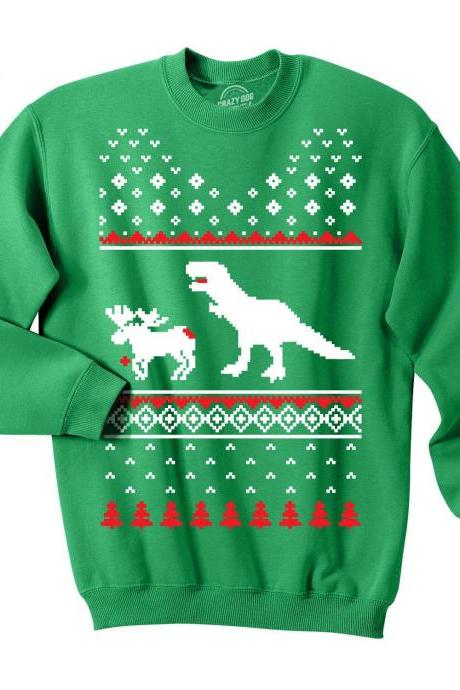 Reindeer Sweater, Ugly Christmas Sweater, Crew Neck Sweater, Tacky Xmas Jumper, T Rex Top, Co Worker Gift, Trex Attack Reindeer