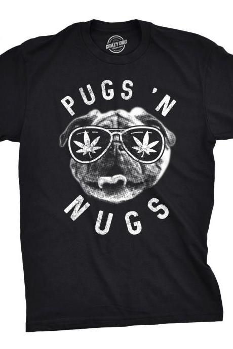 Pug Weed Leaf Shirt, Funny Pot Tee, Funny Mens Marijuana Shirts, Cannabis Shirts, Pugs N Nugs, Funny Weed Shirts, Dog Lover Shirts