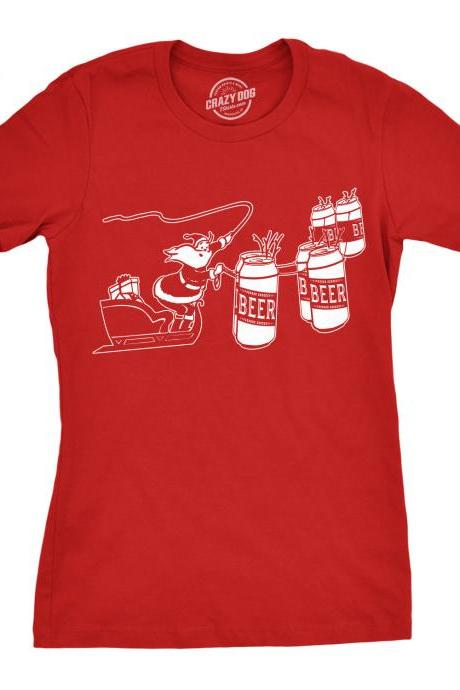 Beer Can Xmas Shirt, Girls Funny Festive Tee, Reinbeer Shirt, Christmas Shirt Womens, Drinking Christmas Shirt, Santas Reindeer Shirt