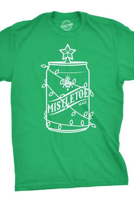 Mistletoe Malt Shirt, Christmas Shirt Men, Drinking Christmas Tree Shirt, Festive Tees Guys, Christmas Beer Party Shirts