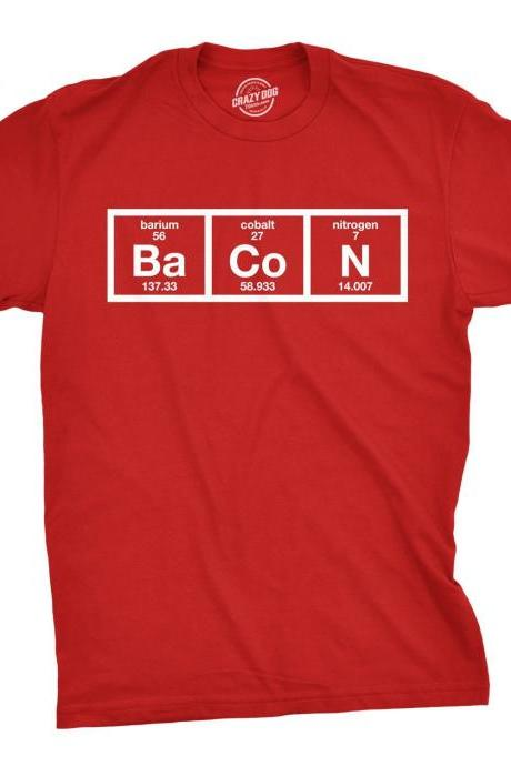 Bacon Shirt, I Love Bacon Shirt, Funny Food Shirt, Food Addict Shirt, Nerdy T Shirt, Chemistry Bacon Funny T Shirt, Funny Food Shirt