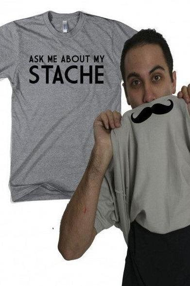 Moustache Flip Shirt, Ask Me About My Shirt, Mens Moustache TShirt, Mustache Shirts, Movember Shirts, Bucks Stag Party Shirts
