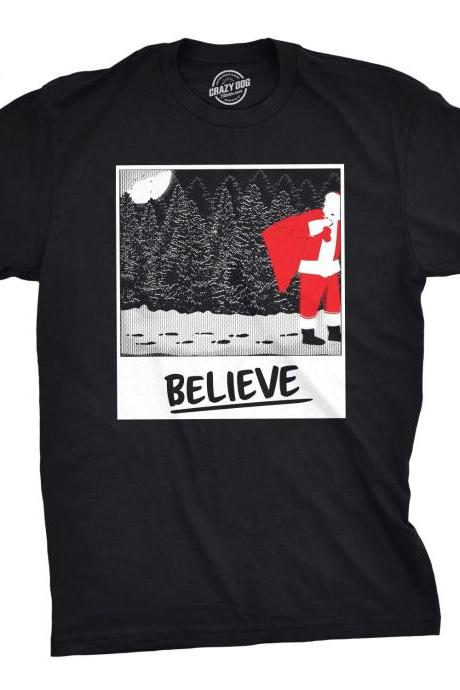 Santa Claus Festive Snow Shirt, Mens Christmas Tree Top, Believe in Father Xmas Tee, Funny Woodland Winter Holiday Shirts
