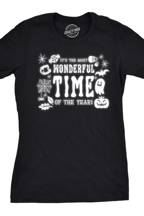Womens Halloween T Shirt, Its The Most Wonderful Time, Pumpkin Tee, Halloween Costume Ideas, Spooky T Shirts, Pumpkin Face Shirt