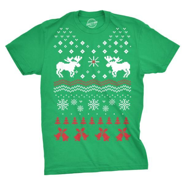 Reindeer Shirt, Ugly Christmas Shirt, Moose Xmas Shirt, Worst Christmas Tee, Bells Snowflakes Shirt, Embarrassing Christmas